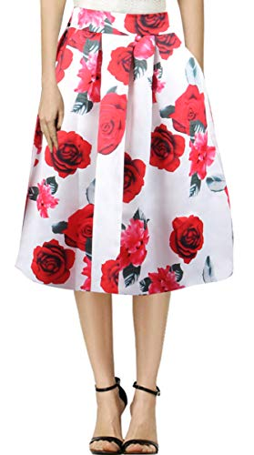 Delcoce Women Flare Midi Skirt Vintage Floral Skirts for Party Formal White L - Flare Skirt Satin