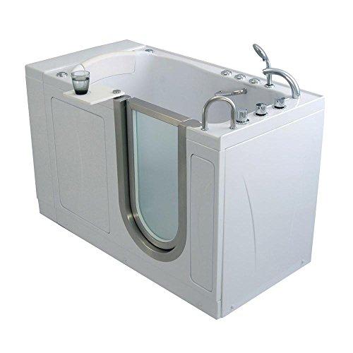"Ella AH3168 Petite Air Massage+Heated Seat Acrylic Walk-in Bathtub with Right Inward Swing Door, Thermostatic Faucet Set, 2"" Dual Drain, 28"" x 52"" x 38"", White"
