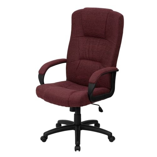 Delacora FF-BT-9022 25.75 Inch Wide Fabric Executive Swivel Chair with Arms, Burgundy - Executive Chair Burgundy Fabric