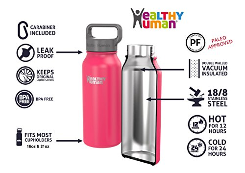 Healthy Human 21 oz Water Bottle - Cold 24 Hrs, Hot 12 Hrs. 4 Sizes & 12 Colors. Double Walled Vacuum Insulated Stainless Steel Thermos Flask with Carabiner & Hydro Guide. Color: Hawaiian Pink