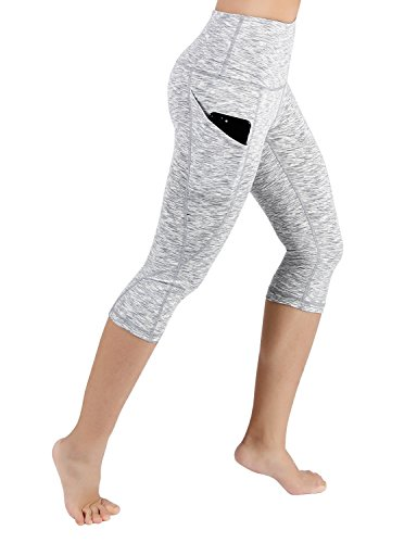 ODODOS High Waist Out Pocket Yoga Capris Pants Tummy Control Workout Running 4 Way Stretch Yoga Capris Leggings,SpaceDyeWhite,Small