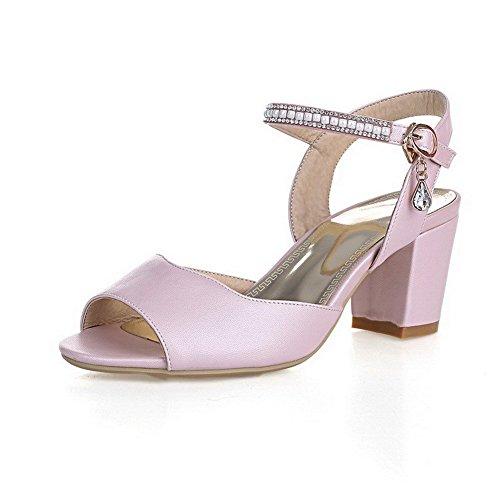 AllhqFashion Women's Kitten Heels Soft Material Solid Buckle Open-Toe Sandals Pink