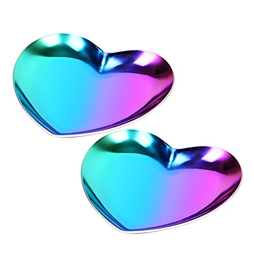 teel Heart Jewelry Serving Plate/Metal Tray by, Storage, Decoration, Ornaments, Pallets (2 Packs Rainbow, Love Shape 3.5'') ()