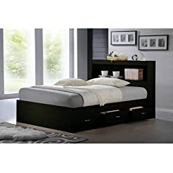 HODEDAH IMPORT Captain Bed with Headboard, Black