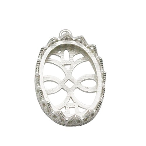 - beadsnice 925 Sterling Silver Pendant Trays Bezel Cups Lace Edge Pendant Settings DIY (18x25mm)