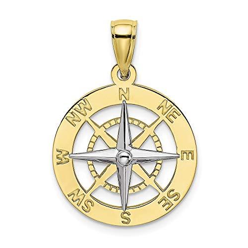 (10K Two-Tone Gold Charm Pendant, Nautical Compass White Needle)