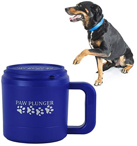 Paw Plunger for Dogs - Portable Dirty Paw Washer for Medium Sized Dogs – Ideal for Dogs Weighing 15-75lbs – Cleaner Pet Paws to Save Floors / Furniture / Carpet / Vehicle from Muddy Paw Prints – Blue