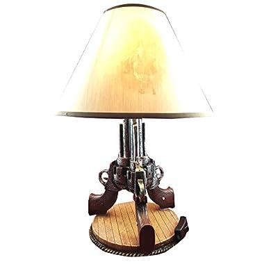 Triple Beretta Gun Six Shooters 19 H Desktop Table Lamp Cowboy Western Home Decor