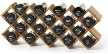 Kamenstein Criss-Cross Bamboo 18-Jar Spice Rack with Free Spice Refills for 5 Years