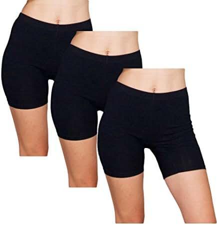Emprella Slip Shorts | 3-Pack Black Bike Shorts | Cotton Spandex Stretch Boyshorts for Yoga