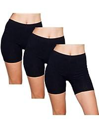 Slip Shorts | 3-Pack Black Bike Shorts | Cotton Spandex Stretch Boyshorts for Yoga