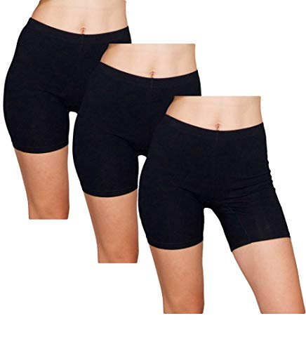 Emprella Slip Shorts  3-Pack Black Bike Shorts  Cotton Spandex Stretch Boyshorts For Yoga,Black,Medium