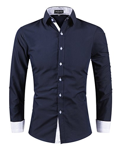 CUSON Men Casual Dress Shirt Cotton Slim Fit Long Sleeve Button Down Solid Shirt Navy Blue M by CUSON