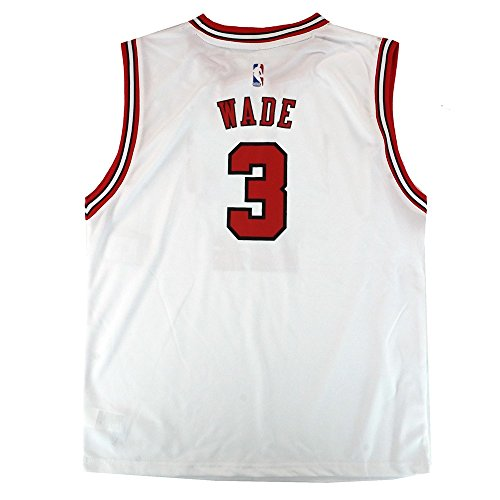 - Outerstuff Dwyane Wade NBA Chicago Bulls Official Home White Player Replica Jersey Youth