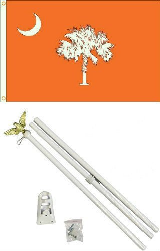 Moon 3x5 State of South Carolina Orange Flag White Pole Kit