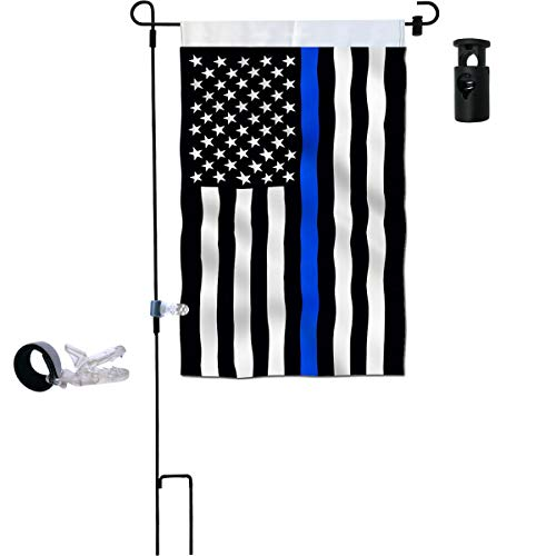 Garden Flag Stand Thin Blue Line Garden Flag Double Sided 12