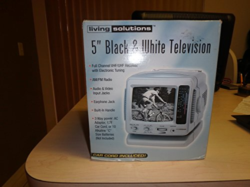 "Living Solutions 5"" Black & White Television"