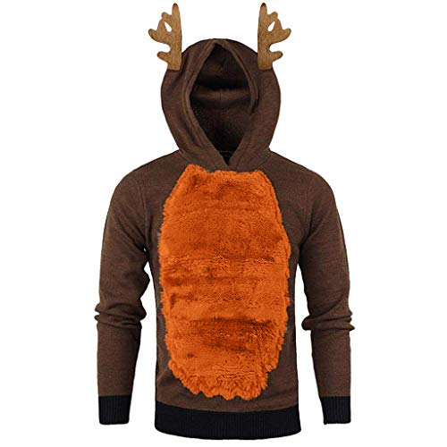 Fashion Men Autumn Winter Xmas Hoody Feather Hooded Christmas 3D Blouse Top