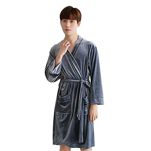 GJFeng Couple Pajamas Thin Spring and Autumn Simulation Velvet Robe Cardigan Bathrobe Hotel Home Dressing Gown (Color : Gray Male, Size : XXL)