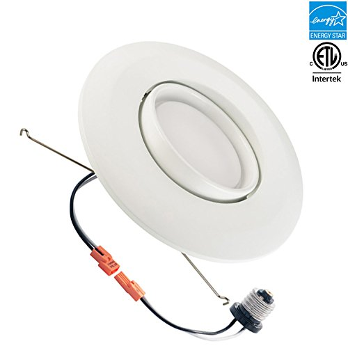 6-inch LED Gimbal Recessed Retrofit Downlight, 15w, 5000k, 1060 lumens, CRI 91, Day White, Round Lens, ETL listed, EnergyStar, Dimmable
