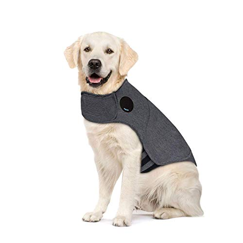 Thunder Dog Anxiety Jacket Anti-Anxiety Shirt Stress Relief Keep Calm Clothes, Heather Gray (XL) (Best Thunder Jacket For Dogs)