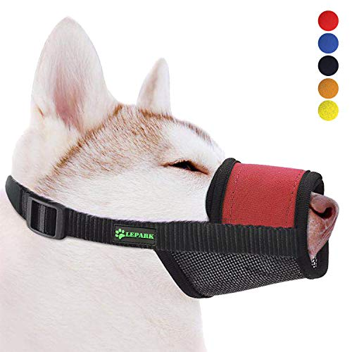 Soft Dog Muzzle with Hook & Loop for Small, Medium and Large Dogs,Prevent from Biting, Barking and Chewing, Adjustable(M,Red)