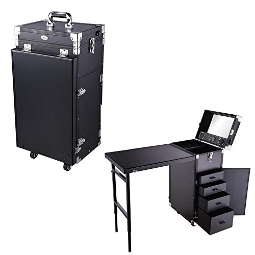 AW Aluminum Makeup Train Case with Table Rolling Travel Salon Nail Trolley Cosmetic Hairdressing Storage Organizer