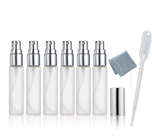 (ELFENSTALL- 6pcs Fine Mist Frosted 10ml 1/3OZ Atomizer Silver Glass Bottle Spray Refillable Fragrance Perfume Empty Scent Bottle for Travel Party Portable Free 3ML Free Pipette)