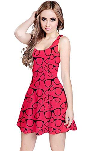 CowCow Red Glasses Retro Sunglasses Sleeveless Skater Dress, Red - - Skater Glasses
