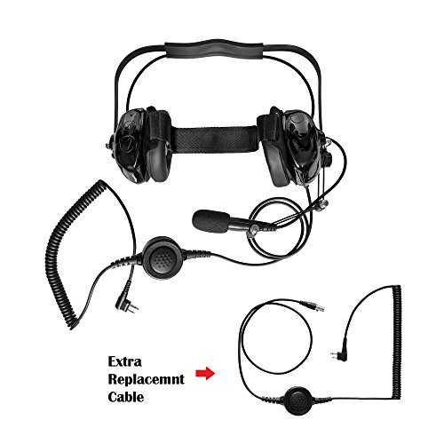 (Maxtop AHDH0032RC-BK-M1 Two Way Radio Noise Cancelling Headset With Extra Cable for Motorola CP200 CP200D BPR40 BearCom)