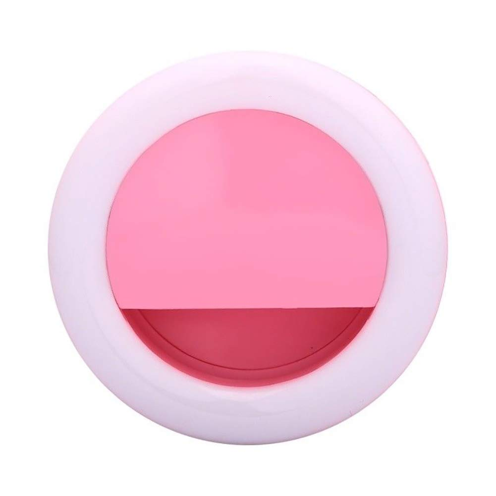Togethluer Rechargeable USB Clip-On Ring Fill Light,Selfie Universal Mobile Phone LED Pink