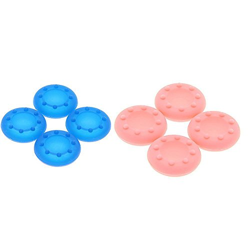 XFUNY(TM) 2Set 8 Pcs Anti-skip Silicone Replacement Key Protector Thumbsticks Grips Cap Cover Analog Joystick Cap Mushroom Caps for PS4/PS3/XBOX one/xbox360 Controller Joypad-Blue+Pink