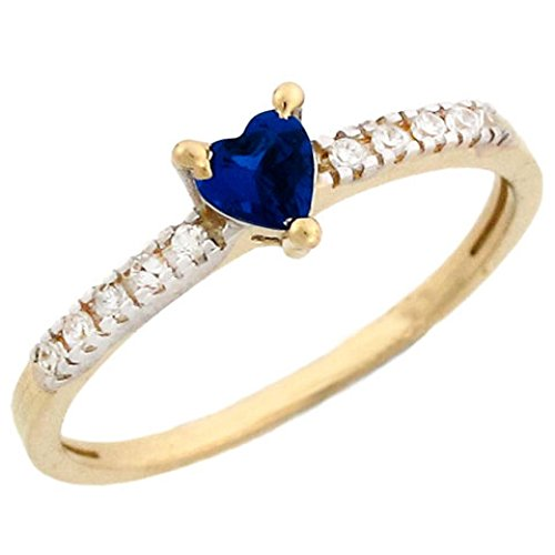 Jewelry Liquidation 14k Gold September Birthstone Simulated Sapphire Heart Ring