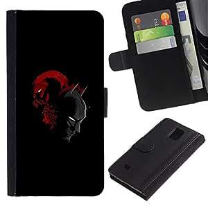 All Phone Most Case / Oferta Especial Cáscara Funda de cuero Monedero Cubierta de proteccion Caso / Wallet Case for Samsung Galaxy Note 4 IV // Bat Man Superhero