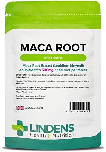 Lindens Raíz de maca 500 mg en comprimidos | 100 Paquete | Suplemento alimenticio botánico popular