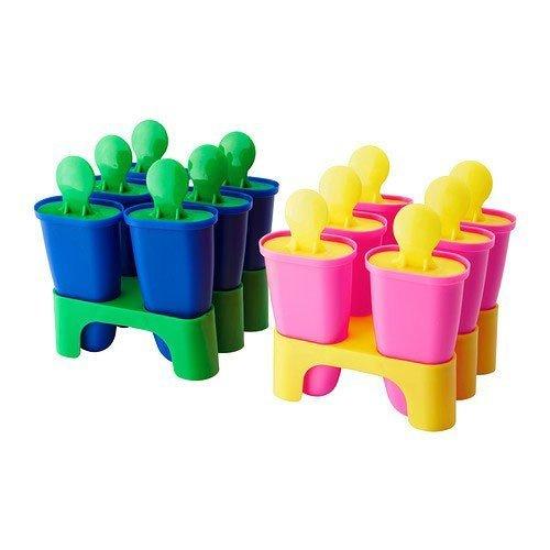 Ikea Chosigt Eis Lutscher Stieleisformen Gefrierbehälter für Eislutscher 6er Set (Gelb / Rosa)