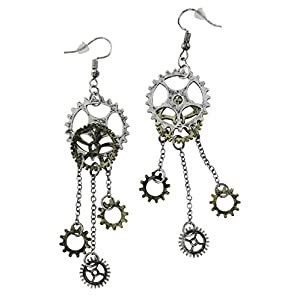 Women's Steampunk Antique Earrings for sensitive ears | Clock Wheel Gear mixed tone