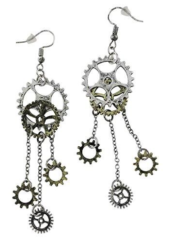 - Women's Steampunk Antique Earrings for sensitive ears | Clock Wheel Gear mixed tone