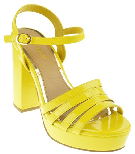 Bamboo Current 12s Womens Chunky Heel Platform Sandals Yellow Patent (Bamboo High Heel Pumps)