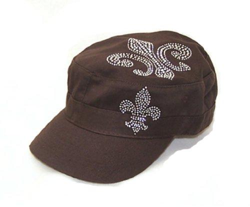 Vintage De Lis Fleur Flats (Fleur De Lis Rhinestone Flattop Vintage Brown Visor Hat)