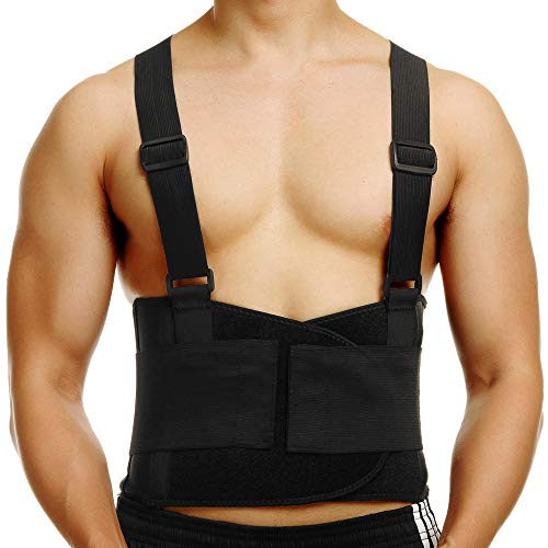 CFR Working Support Back Brace Lumbar Belt Adjustable Straps Pain Relief for Women Men Neoprene Strap for Lower Waist Therapy Portable Pain Daily Care (Black - UP Grade, ()