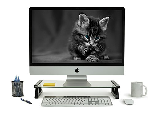 Mount-It! USB Monitor Stand and Laptop Stand, Glass Desk Riser with 3 USB Hub Ports, Capacity 20 lbs - Monitor Glasses For