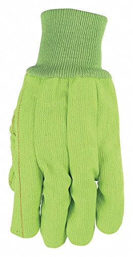 MCR Safety 9018CDG Corded Double Palm High Visibility Men's Gloves with Nap-In Knit Wrist and Cuff, Green, Large, (Corded Canvas Glove)