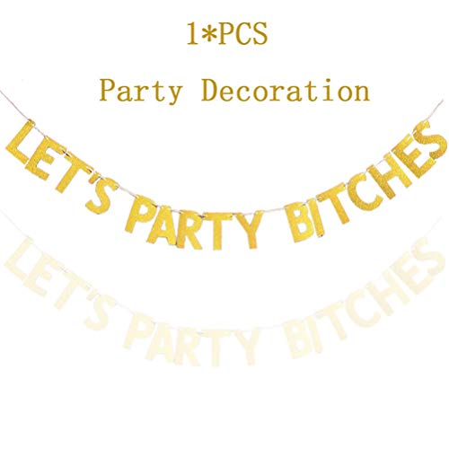 Ladies Night Decorations - Let's Party, Gold Glitter Let's Party