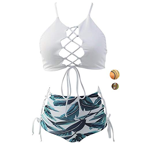 (GIRL AND SEA Women White Backless Bikini High Waist Tankini Patterned Leaf Bathing Suit Set XXL)