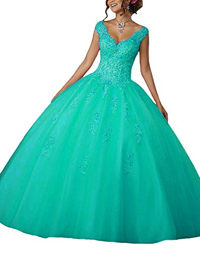 Quinceanera Gown New (Gemila Women's Lace Applique Beaded Sweet 16 Tulle Floor Length PartyBall Gown Quinceanera Dress Turquoise US8)