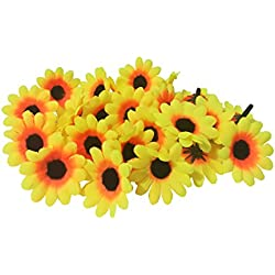 100Pcs Artificial Flowers Wholesale Fake Flowers Heads Gerbera Daisy Silk Flower Heads Sunflowers Sun Flower Heads for Wedding Party Flowers Decorations Home D¨¦cor Sun