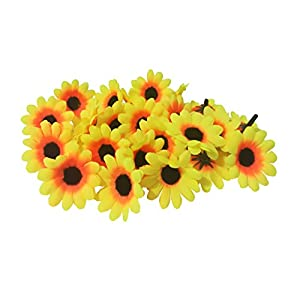 MXXGMYJ 100Pcs Artificial Flowers Wholesale Fake Flowers Heads Gerbera Daisy Silk Flower Heads Sunflowers Sun Flower Heads for Wedding Party Flowers Decorations Home D¨¦cor Sun 102