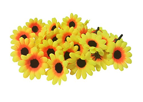 100Pcs Artificial Flowers Wholesale Fake Flowers Heads Gerbera Daisy Silk Flower Heads Sunflowers Sun Flower Heads for Wedding Party Flowers Decorations Home D¨¦cor Sun