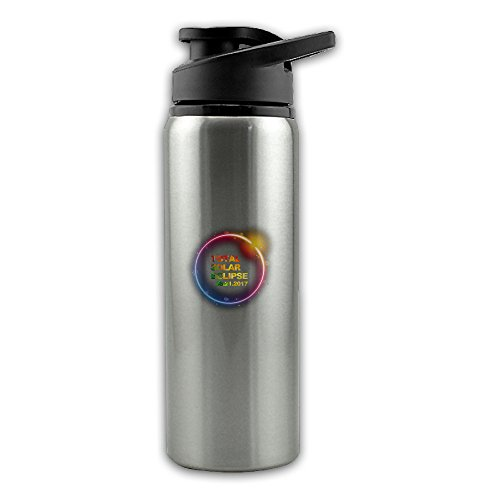 Price comparison product image Vintage Colorful Total Solar Eclipse 2017 Stainless Steel Layer Sports Water Bottle With Wide Mouth 24oz